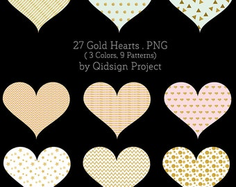 Gold Hearts Clipart, Valentine cards design, planner sticker heart, love logo, digital hearts, gold hearts clipart, pastel hearts