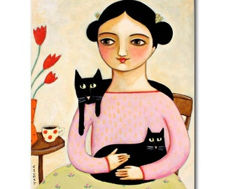 Original Cat Portrait painting LARGE acrylic painting on canvas 20x16 inches two black cats folk art by Tascha