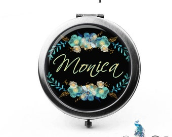 Personalized Compact Mirror Teal Golden Blue Flowers Floral Wreath Bridesmaid Gifts Cosmetic Mirror Custom Favors Birthdays - The Monica