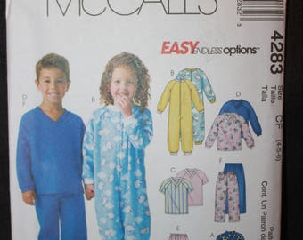 McCalls 4283  Toddlers and Childrens Sleep Wear Size CF (4-5-6)