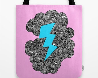 Pink Storm Lightning Cloud Tote Bag - Double Sided Tote - Beach Bag, Yoga Bag, Reusable Grocery Tote