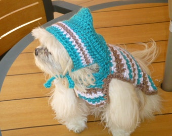 Striped HOODIE dog sweater - available in many colors -2 to 20 lb dogs - made to order