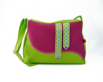 """Sorbet"" green lime and fuchsia shoulder bag"