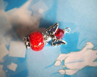 Angel 33x19mm, silver and red hand made lampwork glass and metal charm pendant