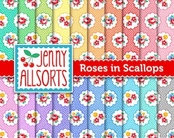 Shabby Chic Digital Paper - Roses in Scallop Circles - for invites, card making, digital scrapbooking