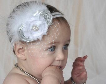 Christening Baby Headband Baptism Flower Girl Fascinator in Silver and White Photo Prop Birthday Girl