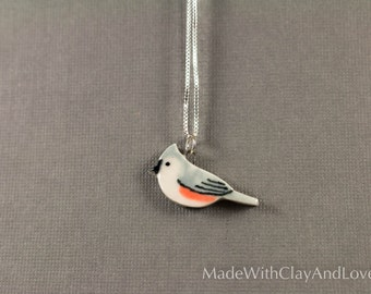 Little Porcelain Tufted Titmouse Bird Sterling Silver Necklace - Miniature Tiny Ceramic Animal Nature Handmade Jewelry