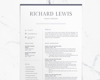 Modern Resume Template CV Template + Cover Letter | Professional and Creative Resume | Resume Word | Simple Resume Digital Instant Download