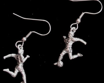 Soccer Ball Player Earrings Soccer Mom Gift Jewelry Oxidized Matte Silver ES080B