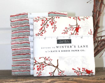 "Return to Winters Lane by Kate & Birdie  for Moda Charm Pack 5"" Squares"