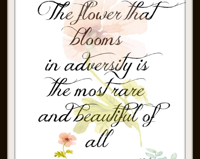 Inspirational Print,Instant Download,Inspirational Wall Art,Graphic Print,Printable Art,Flower,Inspirational Quote,Disney quote