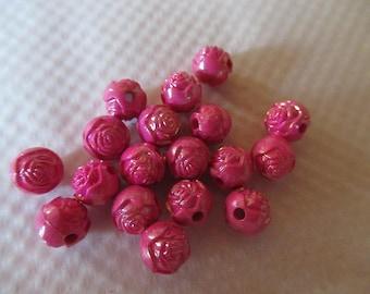 PERLES FLEURS ROSES lot de 18 perles fleurs roses couleur rose foncé acrylique 8 mm petites perles  pour créations bijoux