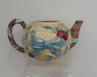 "Painted, Flowered & Leaf, Pitcher, TeaPot, Vintage, Collectibles, No Lid, 5"" Tall x 9"" Wide"
