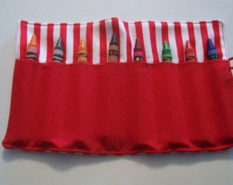red and white stripe crayon roll up 8 count