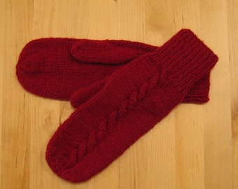 Cable Mitten Knitting Pattern - PDF