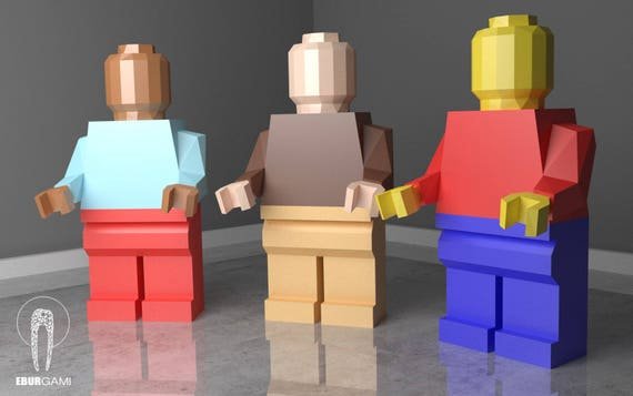Low Poly XXL Lego Papercraft Model Create Your Own 3D