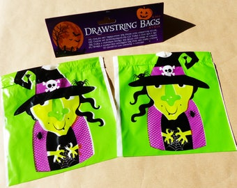 15 bags candy Halloween Drawstring bags bag Green Spider witch Hat 15 x 15 cm 6 x 6 inch bags candy goodies