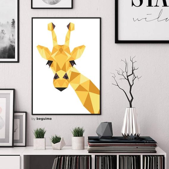 Giraffe Print Printable Wall Art Geometric Animal Nursery