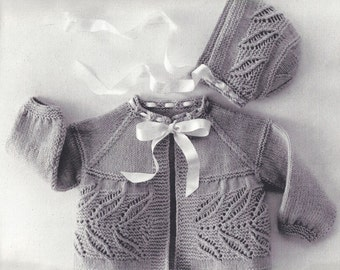 Infant Sacque Set, Baby, Vintage Knitting Pattern, INSTANT DOWNLOAD PDF