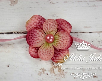 Pink Baby Headband, Pink Flower Headband, Wedding Baby Flower Girl Headband, Newborn Headband, Flower Little Girl Headband, Hydrangea