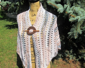 Crocheted shawl with shawl pin, earth tones, neutral colors, womens, triangle, scarf, wrap