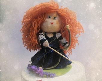 Custom Brave Princess Merida Inspired Cake Topper - Personalized OOAK doll Figurine Hand made in France