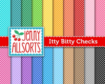 Itty Bitty Checks - Small Checkerboard Digital Paper 20 Sheets in Rainbow Colors - Instant Download