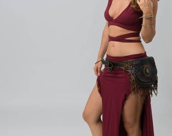 Angel skirt, maxi skirt, long skirt, festival skirt, boho skirt, Split skirt, Esctatic skirt, Burning man skirt, Dance skirt, Elegante skirt
