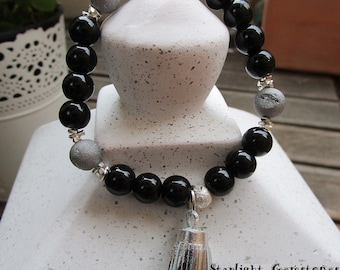Cosmic - Black Onyx & Silver Druzy Gemstone Bracelet with Sterling Silver Spacers and Silver Tassle