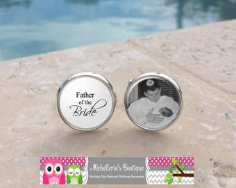 Custom Photo Father of the Bride Cuff Links Personalized Custom Wedding Party Gifts,Mens, Cufflinks,Wedding Keepsake