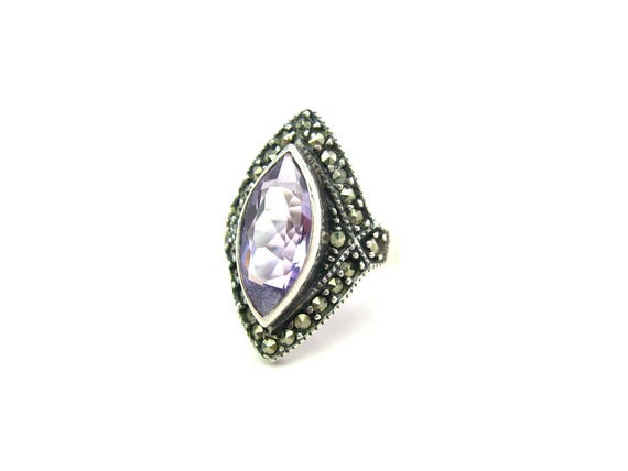 Vintage Amethyst & Marcasites Art Deco Style Sterling Silver Ring
