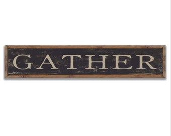 Gather typography handmade wooden sign framed out in wood typography signs inspirational signs family signs inspirational quotes Gather sign