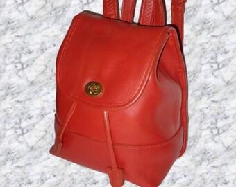 COACH Vintage Orange Leather Drawstring Backpack # 9960.