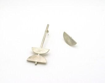NEW ME Collection - asymmetrical silver earrings, contemporary urban (long+medium)