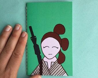 rey (no mask) star wars hand sewn mini notebook // the force awakens// rebel alliance// mini journal //  stocking stuffer // christmas gift