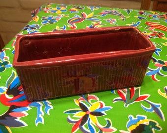 Vintage McCoy ceramic burgundy rectangular planter