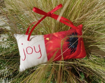 Door Knob Pillow, Sign, Joy, Home Decor, Hand Embroidered, Poppies, Red
