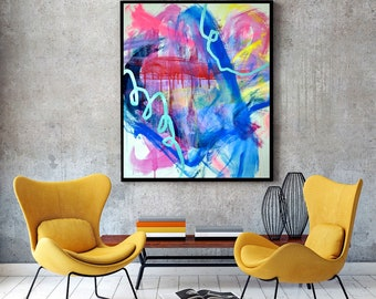Original Abstract Art Large Abstract Painting Modern Art Abstract Expressionism Contemporary Painting Colorful Modern Art Blue Art Neon Pink