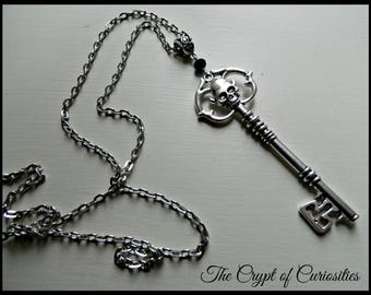 Gothic antique silver skeleton key necklace.