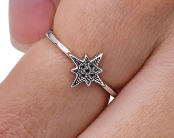 Star Ring, Sterling Silver Ring, Dainty Ring, Sterling Silver Stacking Ring, Stacking Ring, Minimalist Ring, Valentine's Jewelry.