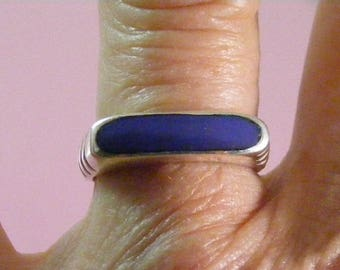 Vintage Faux Lapis Lazuli Sterling Silver Stackable Band Ring.....  Lot 5454