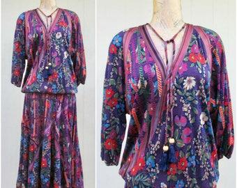 Vintage 1980s Dress / 80s Diane Freis Floral Stripe Drop Waist Bias Cut Gypsy Dress / Medium