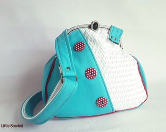 retro shoulder bag faux leather white and turquoise