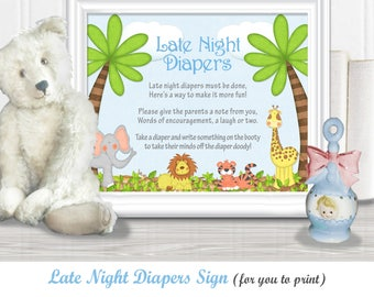 "Late NIGHT DIAPERS Baby Shower Sign (8"" x 10""), Safari/Jungle theme with baby animals, Instant Download, diy PRINTABLE, 15BA"