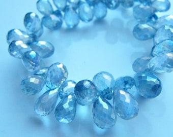 NEW - 3 Inch 1/2 Strand of Sparkling Mystic Rainbow Blue Quartz Teardrop Briolettes semi precious gemstone beads 8mm - 10mm