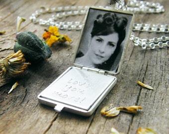 men's photo locket / men's locket brushed sterling silver double photo locket / men's locket