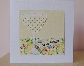Woman 30th, 30th birthday card, wife 30, girlfriend 30th, 30 and fabulous, sister 30th card, friend 30th, card for her, daughter 30th card,
