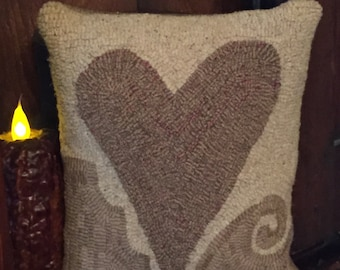 Primitive Heart Hooked Pillow