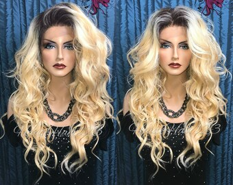 Wavy Gold Blonde Rooted Ombre Multi Part Human Hair Blend Lace Front Wig