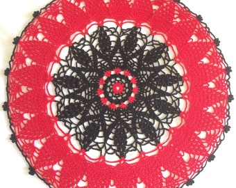 great decorating trend 2018 red and black crochet doily 36 cm, gift idea, mothers day, very nice effect